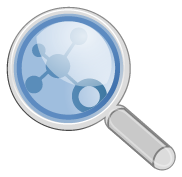 Magnifying glass with graph nodes and edges