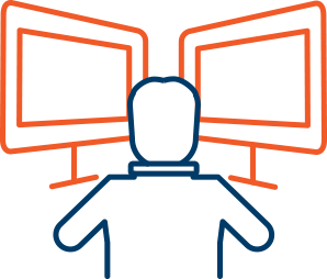 Person in front of screens icon