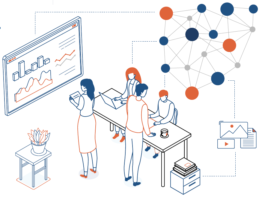 Graph and office people illustration